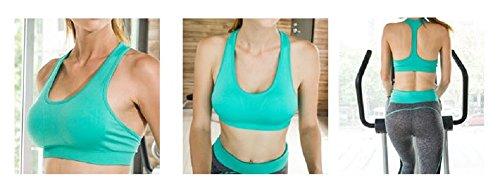 Soutien-Gorge Femme Fitness Sport Sans Armature Sous-Vêtements Push Up Brassière Bra avec Bretelles Gilet Simple pour Yoga Sports Course Vert