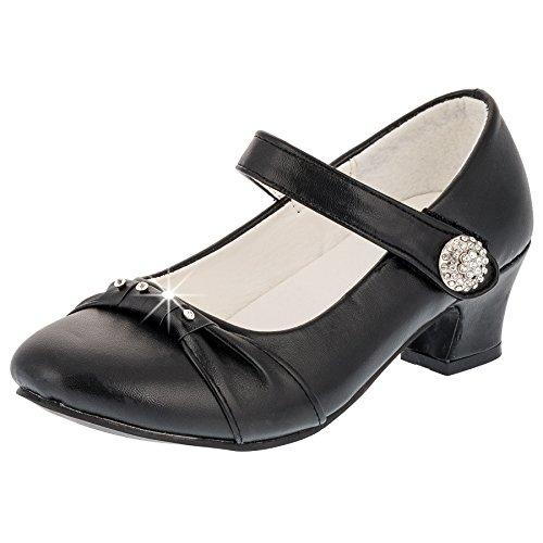 Eva Mode Festliche Mädchen Pumps Ballerinas Schuhe Absatz Strass M836sw Schwarz 32