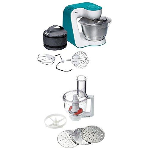 Bosch MUM54D00 Küchenmaschine StartLine (900 W, 3,9 L Edelstahl-Rührschüssel, einfaches Handling /Verstaulösung) dynamic blau + MUZ5MM1 Multimixer (Passend zu Küchenmaschinen MUM5) weiß/transparend