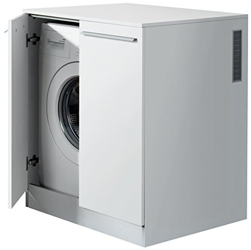 #FACKELMANN Waschmaschinenschrank/Badschrank mit Lüftungsgitter/Maße (B x H x T): ca. 71 x 91 x 70 cm/hochwertiger Badezimmerschrank/Korpus: Weiß/Front: Weiß Hochglanz#