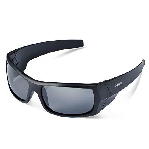 Duduma Sport Occhiali da Sole Polarizzati per Gli Uomini Ideale per lo Sci Golf Corsa Ciclismo TR601 Super Leggero per Gli Uomini e le Donne. (139 Telaio nero opaco con lente nera)