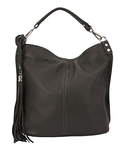 CLAUDIA Damen Tasche Schultertasche aus hochwertigem Leder FARBAUSWAHL (Grau)