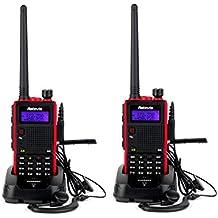 Retevis RT5 Walkie Talkie Ricetrasmittente 5W Doppia Banda VHF / UHF 136-174/400-520 MHz 128 Canali Scansione VOX DTMF FM Radio 1750Hz Ricetrasmettitore con Auricolare(2 pezzi)