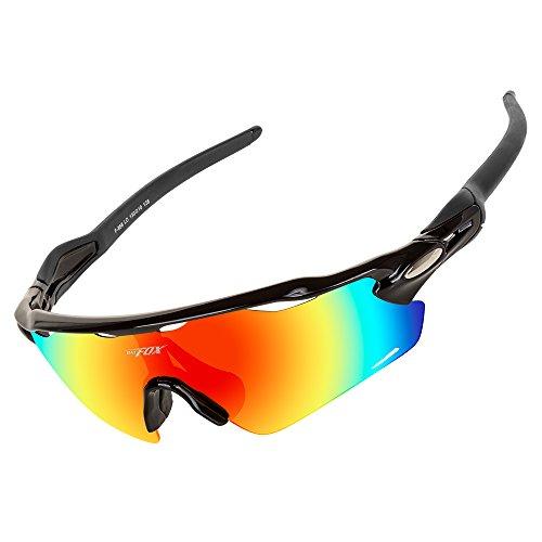 BATFOX Polarisierte Sonnenbrillen Fahrradbrille Radbrille Sportbrille Herren Damen für Radsport Fahrrad Baseball Skifahren Sport Brille Junior mit Wechselobjektiven unzerbrechlichem Rahmen