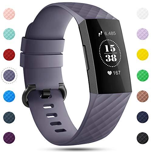 Onedream Kompatibel für Fitbit Charge 3 Armband für Damen Herren, Silikon Sport Ersatzarmband Kompatibel für Fitbit Charge 3/ Special Edition Uhr Tracker, Wasserdichtes Zubehör Armband Grau