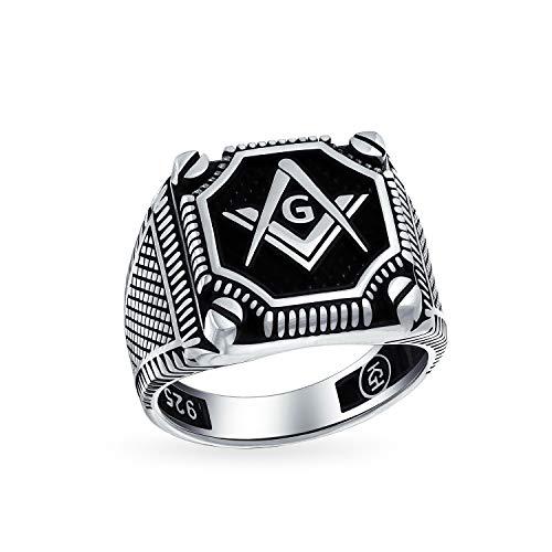 Mens Schwarz Onyx Edelstein Inlay Kompass Freimaurer Masonic Siegelring Für Herren Solide Oxydiert Silber In Der Türkei - Onyx Inlay Ring Black