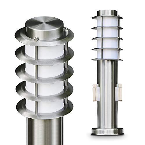 """Sockelleuchte Serie""""Tunes"""" mit zwei Steckdosen Sockellampe aus Edelstahl mit Schuko Stecker geeignet als Gartenlampe"""
