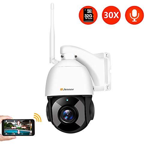 Jennov PTZ Überwachungskamera 30x Fach Digitaler Zoom 1080P WLAN IP Kamera 355° schwenkbar 100° neigbar Zweiwege-Audio 100m IR Nachtsicht IP66 wasserdicht APP Fernzugriff 32GB TF-Karte für Innen Außen - 20 Digital Kamera