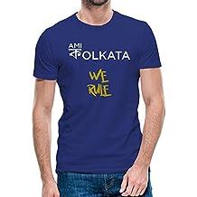 The Localduty Ami Kolkata We Rule IPL Collection Royal Blue Cotton Round Neck Half Sleeve Tshirt
