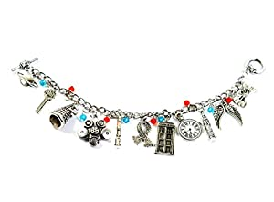 "DOCTOR WHO Silver Tone "" TV Inspired Charm Bracelet With Dalek Robot, Tardis,London Eye, Clock, Scarf And More Charms"