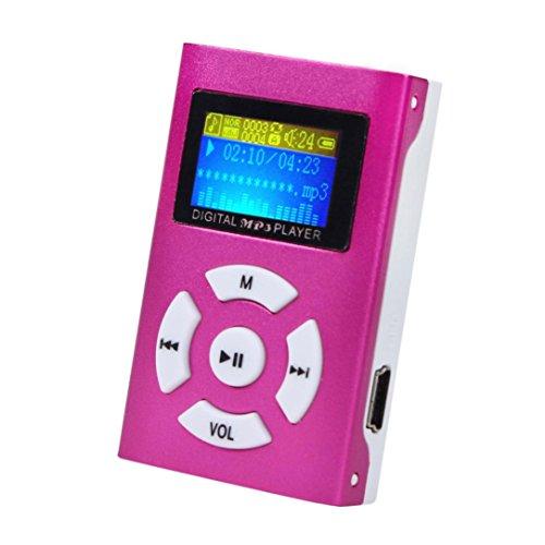Jintime Tragbarer MP3 Player USB Mini Musik Player LCD Bildschirm 3.5 mm Stereo Jack Unterstützung 2/4/8/16/32GB Micro SD/TF Karte (Red) -