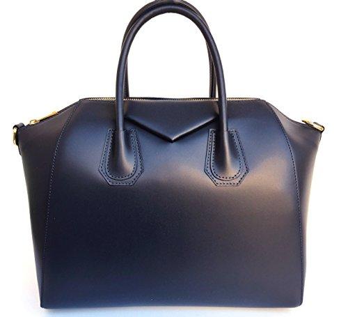 Superflybags Damentasche echt leder Modell Rebecca Einzigartige Tasche hergestellt mit besonderem glattem Leder dunkelblau