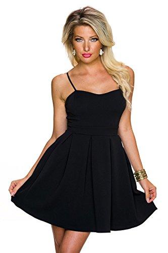 Fashion - Robe - Cocktail - Uni - Sans Manche - Femme Schwarz