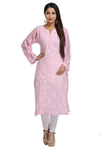 ADA Handcrafted Lucknow Chikan Regular Fit Faux Georgette Kurta Kurti ( A95581...