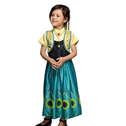 Pettigirl Mädchen Königin Kostüm Halloween Karneval Prinzessinkleid Grün 5 Jahre (Kinder Königin Kostüme)