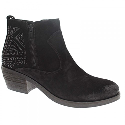 Alpe Cowboy Ankle Boot With Crystal Detail 8 Black Suede