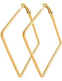 b2df49e91942 geralin Gioielli – Pendientes Anillo Pequeño Oro Pendientes de aro  cuadrados Fashion Pendientes Vintage