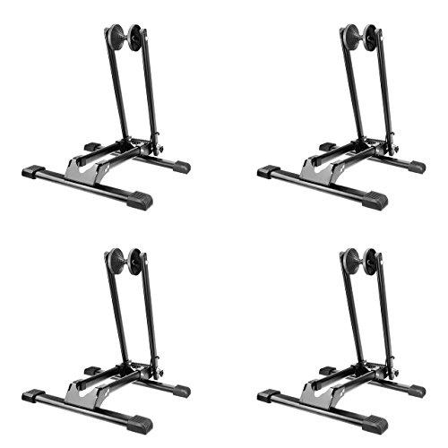 4x WELLGRO® Fahrradständer - für Vorderrad oder Hinterrad, Stahl, schwarz, platzsparend zusammenklappbar