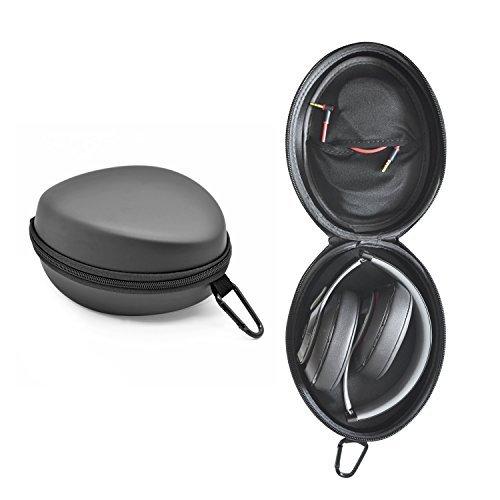 iProtect Schutztasche Case Box mit Karabiner geeignet für Beats by Dr. Dre Studio Solo Mixr Pro Kopfhörer u.A. in schwarz