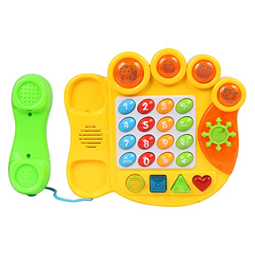Planet of Toys Electric Learning Telephone Machine with Music & Light for Kids, Children