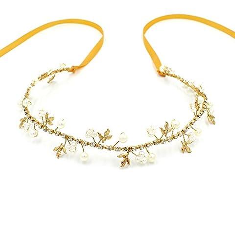 Mariage Bandeau Cristal Doré–Pearl accessoire pour cheveux Demoiselle d'honneur Coiffe pour les femmes et les filles