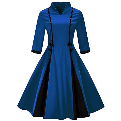 SEWORLD Elegant Kleider Damen Abendkleider Vintage Prinzessin Mode Maxikleid Große Größe Halbe Hülse Freizeit Kleid Einfarbig Bogen Retro Flare Kleid(Blau,EU-40/CN-XL)