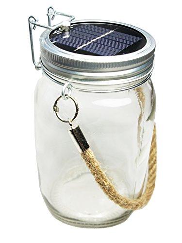 Lampada lanterna LED Solare Skaize™ in vaso di marmellate in vetro con manico, corda e (Corda Solare)