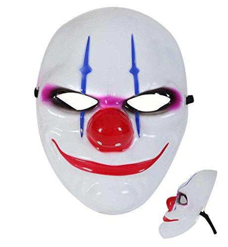 Kunststoff Clown Maske (Clown-Maske Halbmaske Horrormaske Halloween)