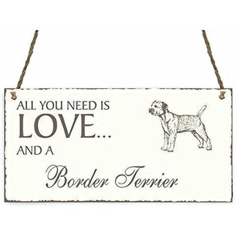 Targa decorativa « All You Need Is Love and a cane Border Terrier », Legno Shabby Vintage targa per porta