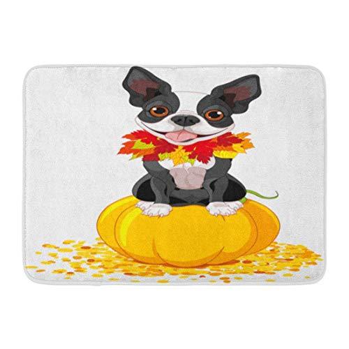 LIS HOME Fußmatten Bad Teppiche Outdoor/Indoor Fußmatte Hund Boston Terrier sitzt auf Kürbis Halloween Cartoon Kostüm Tiere Badezimmer Dekor Teppich Badematte