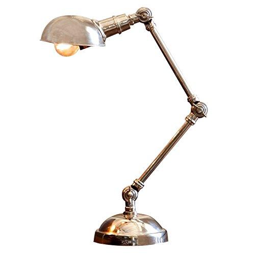 LOBERON Tischlampe Toulon, Messing, H/Ø ca. 57/13,5 cm, antiksilber, Energieeffizienzklassen A++...