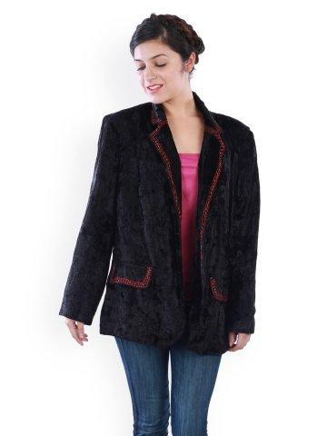 UPTOWN Women's Black Velvet Blazer  available at amazon for Rs.899