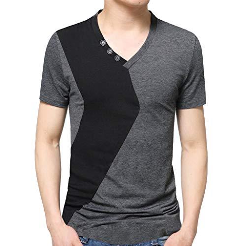 T-Shirt da Uomo Qinsling Moda Casuale Maniche Corta Girocollo Girocollo  Estivo T Shirt Camicetta 3f3de446c13