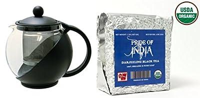 Pride Of India organique thé noir darjeeling demi-livre pleine feuille et trempé théière en verre 3cup w/infuseur amovible 25 onces liquides pack combo