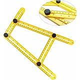 Transer Hot Plastique Instrument de Mesure Angle-izer Modèle Outil 4 Faces Règle Mécanisme Slide pour Artisans (Jaune)