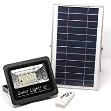 Luz Solar LED Exterior Con Mando a Distancia 25W, Foco Solar con Luz Cálida 2700K