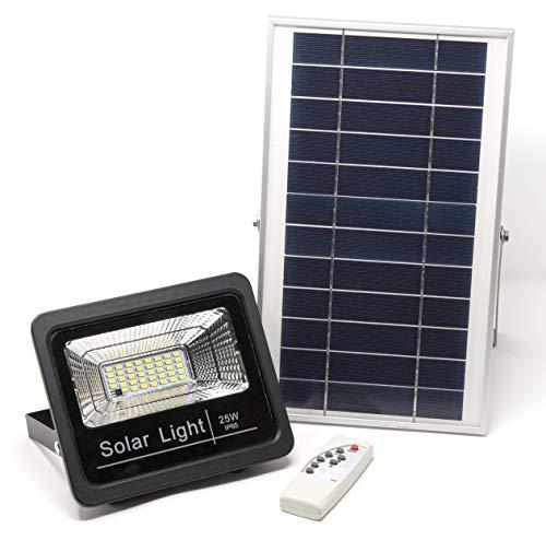 Luz Solar LED Exterior Con Mando a Distancia 25W, Foco Solar con Luz Cálida 2700K, Hasta 15 HORAS de Luz, Impermeable, Control Remoto, Exterior   Jardín   Caseta   Patio   Terrazas