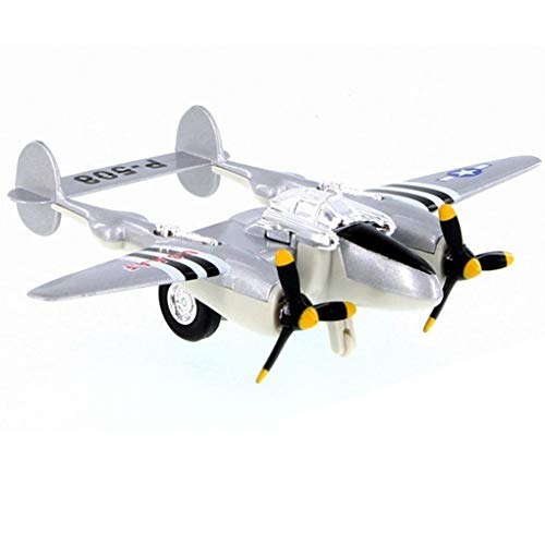IndusBay® Diecast Alloy Metal Body P-508 / P-38 Lightining World War II Fighter Plane Aeroplane Toy for Kids (Size 4.72 Inches) - Grey
