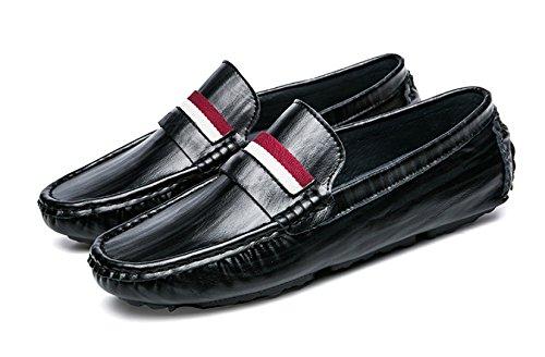 Herren Cadet Teenager-Alter Gentleman Derby-Schuhe Leder Herbst Winter Anti-Rutsch Gemütlich Fahren Oxford Schuhe Leder Pea Schuhe,Black-25(cm)=9.84(in)=EU39=UK6
