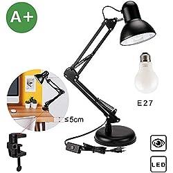 Lampada da scrivania, lampada da tavolo Aglaia con base intercambiabile o morsetto, braccio in metallo leggero, snodabile e regolabile, compatibile con lampadine LED E27