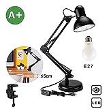 Flexo LED lampara de trabajo, lámpara de mesa Aglaia con base o abrazadera intercambiables entre...