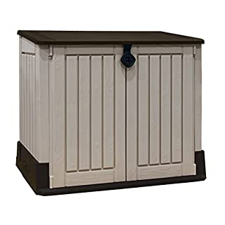 Keter Store-It Out Midi Outdoor Plastic Garden Storage Shed, Beige and Brown, 130 x 74 x 21 cm
