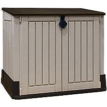 Keter - Cobertizo de almacenamiento para jardín de plástico al aire libre , beige y marrón