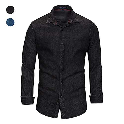 X&Armanis Jeans-Hemd aus Baumwolle für Herren, lässiges Business-Langarm-Shirt Kariertes Revers-Hemd,2,M