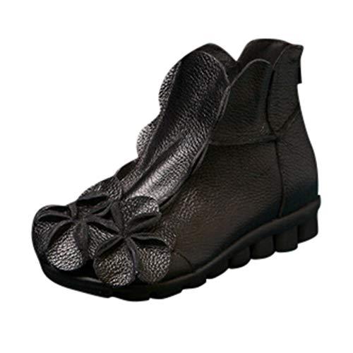 MYMYG Ankle Boot Winterschuhe Frauen handgenähte Blumen Schuhe ethnischen Stil Stiefel Leder Casual Stiefel Klassische Freizeitschuhe Kurzschaft Wildleder Madeline (Einfach Teenager Halloween Kostüme)