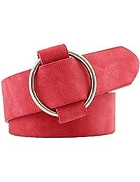 b7aa48235051 Bobury Round Solide Couleur Femme Imitation Cuir Boucle de Ceinture en  métal Filles Jeans Modeling Ceinture