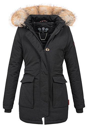 Navahoo Damen Winter Jacke Parka Mantel Winterjacke warm gefütterte Kapuze B612 [B612-Schnee-Schwarz-Gr.L]