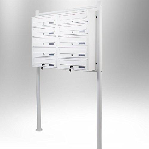 BITUXX® Stand-Briefkastenanlage Postkasten Letterbox Mailbox Doppelt mit 10 Fächer Weiß - 2