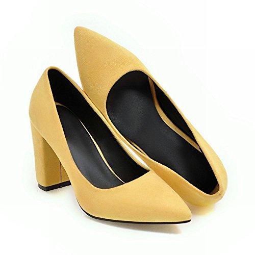 Mee Shoes Damen chunky heels spitz Nubuck Pumps