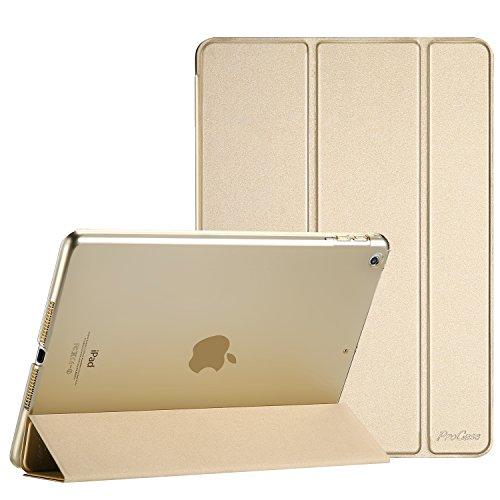 ProCase iPad 9.7 Hülle 2018 iPad 6 Generation /2017 iPad 5 Generation Tasche - Äußerst Schlank Leichtgewicht Ständer mit Transluzent Matt Rückseite Intelligente Hülle für Apple iPad 9.7 Zoll -Gold